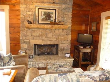 Cozy living room with gas fireplace, flat screen TV and DVD player.
