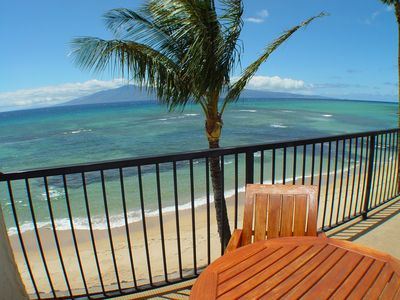 Lokelani B-204's sun balcony with direct oceanfront views and quiet sandy beach.