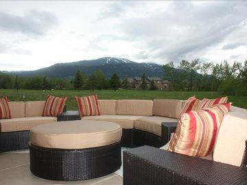 View from Patio Seating area of Red Lodge Mountain Ski Resort in background