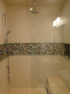 The Best Shower- Gorgeous Glass Tile, European Glass, Limestone, Grohe Fixtures!