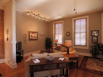 Asheville condo rental - Living room view to east windows shows HDTV and new LED light gallery plus a corner electric FP so cozy....