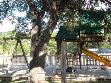 One of two play children's structures on the property