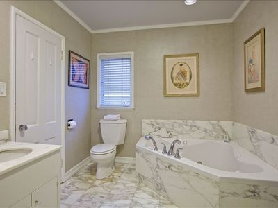 Master Marble Bathroom with Jacuzzi Tub