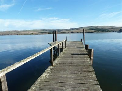 Our private dock and beach on Tomales Bay. www.TheWhitneyHouse.com
