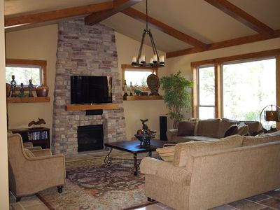 Great Room with gas fireplace and home theater system