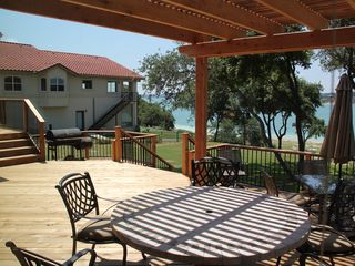 Canyon Lake house photo - 750 sf deck with shade arbor overlooking lake.