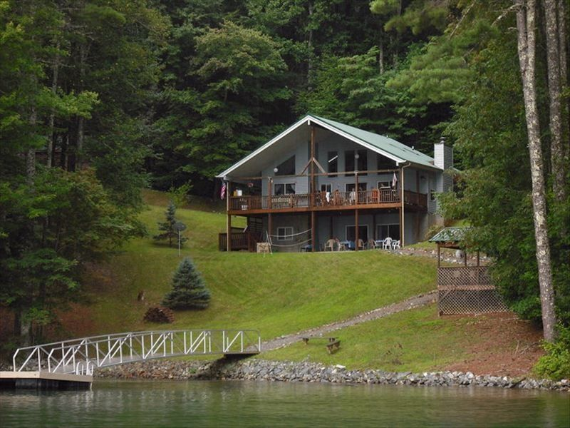 View of the cabin from lake glenville for 8 bedroom cabins in north carolina