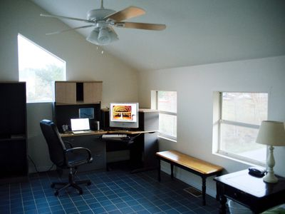 Loft office with double bed just off picture to the right
