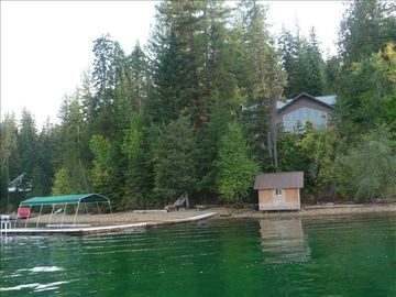 easy access beach, boat house for storage, boat slip