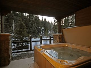 Copper Mountain townhome photo - 1st Floor Deck & Hot Tub overlooking Mountain