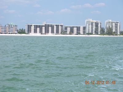 View of Carlos Pointe from the ocean -notice the huge white sandy beach area!
