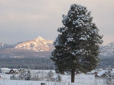 Pagosa Peak highlighted in sun as seen from Kickback Cabin - Ski Wolf Creek