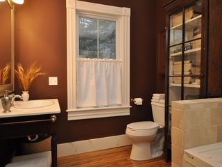 Lenox house photo - Marble and tumbled stone tiling with a walk-in shower and jet tub