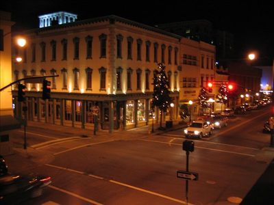 View of Broughton and Whitaker Streets from Living Room at night