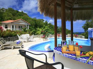 Cap Estate villa photo - Outstanding Ocean View from Poolside Tiki Bar. Six Swim-up Seats and Five Chairs