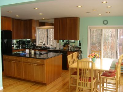 Lincoln house rental - Another view of the kitchen, with the kitchen table - which expands to seat 8.