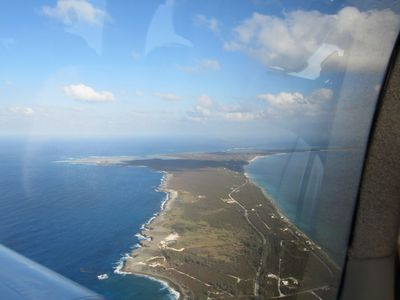 Narrow Eleuthera from the air. The island is 2 miles wide, at its widest!