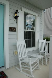 Front porch rockers to enjoy the pond view and your morning coffee!