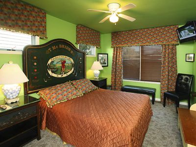 The Caddy Shack has golf memorabilla, and is furnished with a queen bed.