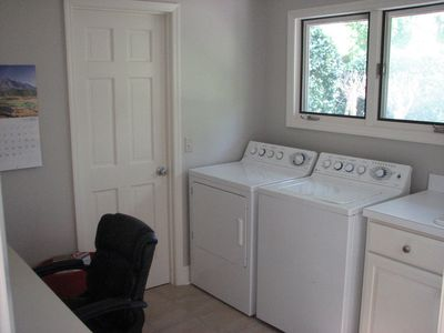 laundry with large sink and office/desk