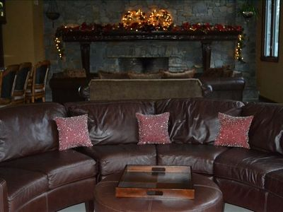 Great room cowhide leather couch, relax watching movies on 140 inch home theater