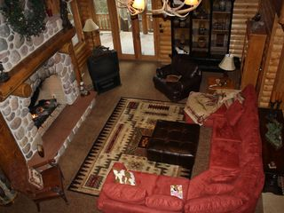 Sundance cabin photo - Great Room. DirecTv. Wide screen HD TV (not shown) Panoramic Pine Views.