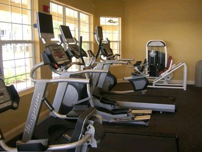Fitness Center overlooking the pool.