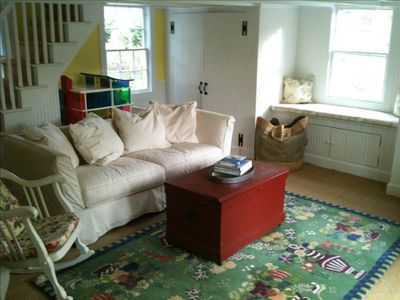 Water Mill cottage rental - Guest wing, bedroom 3. Couch is a queen size pull out. Upstairs, 2 child beds.