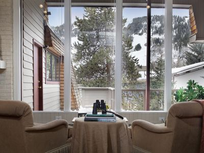Grab the binoculars and scout out the ski runs on Aspen Mtn from the Living room