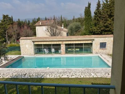 Grasse house rental - Swimming-pool and pool house from the first floor
