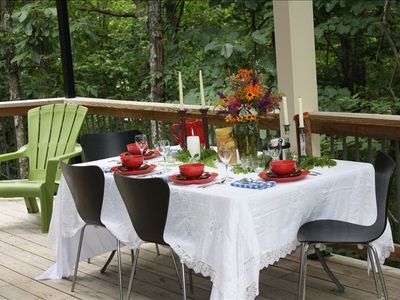 Enjoy outdoor dining with food prepared in house or catered by a local chef!