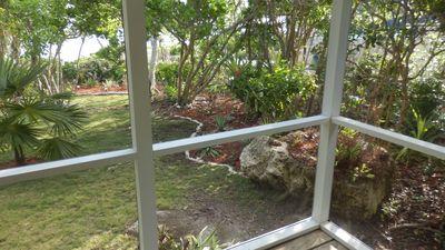 Front yard (partial) showing the Sea of Abaco from the screened in front lanai