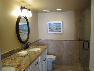 Renovated Master Bath, granite, tile, custom cabinets, huge shower!
