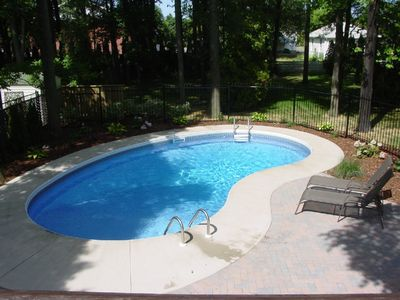 View of pool from upper deck off kitchen