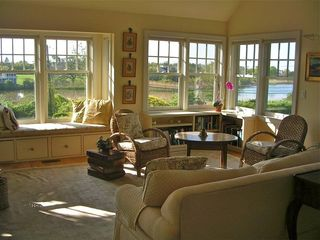 Water Mill house photo - Large upstairs great room with Mecox Bay view, media, deck and sleep sofa
