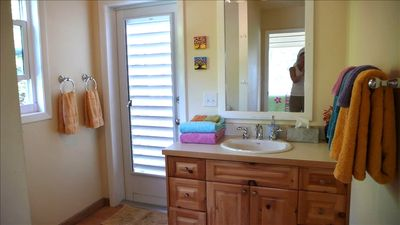 bathroom ( shower is through door;beautiful, enclosed, outdoors under the stars)