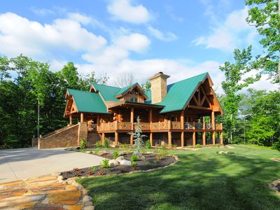 Beautiful cabin with professional landscaping, outdoor fire pit and lots of room