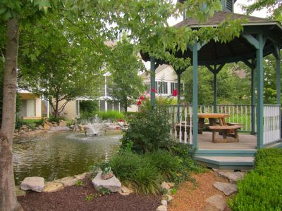The gazebo is behind the condo in the hidden garden for a special picnic date.