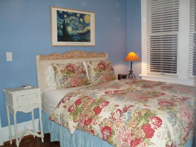 Wilmington house rental - 2nd BR: Queen, small TV with VCR, remote controlled ceiling lights and fan