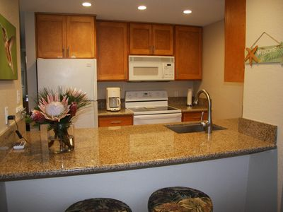 Kitchen with all conveniences and eating bar