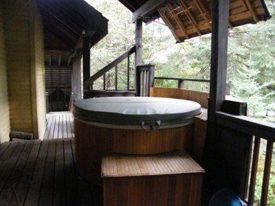 Hot tub on covered deck