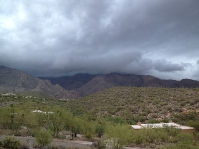 View of Catalina Mountain range during summer monsoon.
