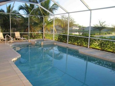 Private Heated Pool and Spa with unobstructed views of two Lakes and Golf Course