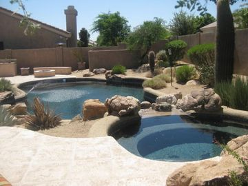 Scottsdale Grayhawk house rental - This is a photo of The Homes' Private Custom backyard. Gorgeous Pool & Hot Tub