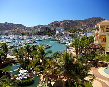 View from Puerto Paraiso Mall. Cabo San Lucas Marina.