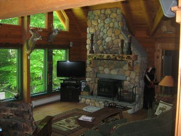 Family Room hearth and wood stove.