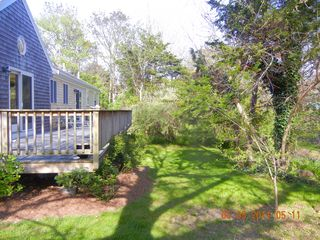 View of deck and lower back yard - East Orleans house vacation rental photo