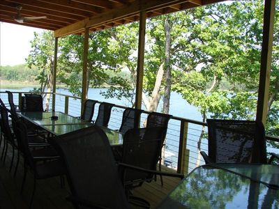 Lodge deck is 12x36 with lots of comfy seating, tables, bar - and awesome views!