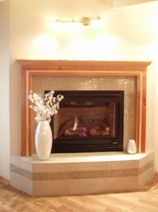 The stunning fireplace in the living room