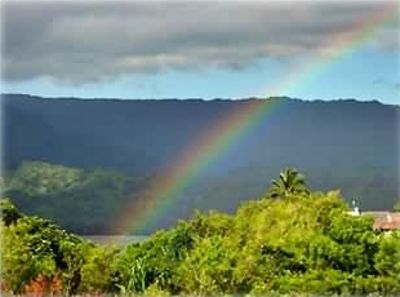 Every rainbow is special, especially right out your window.